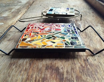 Pair of midcentury modern mosaic tile metal trivets, vintage tile mosaic table top trivet hairpin handle metal legs, retro hot plates