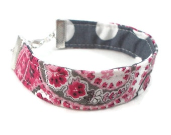 Fabric Bracelet, Pink and Gray, Paisley and Polka Dots, Cute Reversible Bracelet, Teen Jewelry, Tween Jewelry, Gifts Under 10