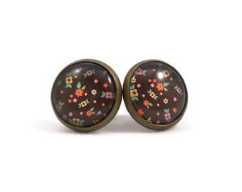 Sweet Earrings with Tiny Floral Pattern Brown w/ Orange Yellow Green Pink in Bronze Large Stud Earring Jewelry for Teens Feminine Earrings