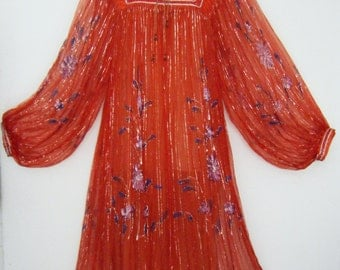 60's - 70's HAND PAINTED Indian Cotton Gauzy Gypsy FESTIVAL Dress, size osfm