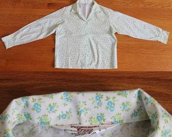 60s Blouse / 1960s Button Up Calico Floral Print Green NOS Cotton Blouse