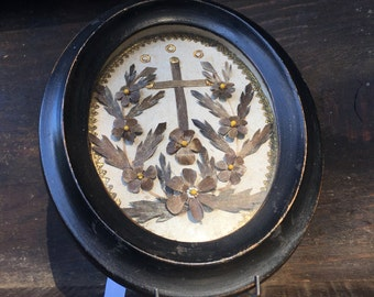 Antique French Mourning Hair Cross and Pansies c.1860