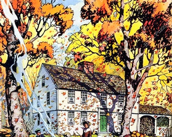 Wooden jigsaw puzzle. FALLING LEAVES. House Beautiful magazine cover. Wood, handcut, handcrafted, collectible. Bella Puzzles.