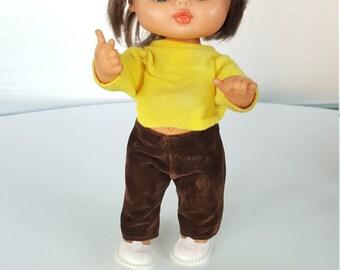 Vintage Vinyl Doll with Velvet Pants and Hat/ Blinking Eyes