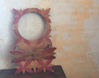 Vintage mail holder | wall decor | organization | home and living | autumn leaves | rust, pecan | handmade| folk art