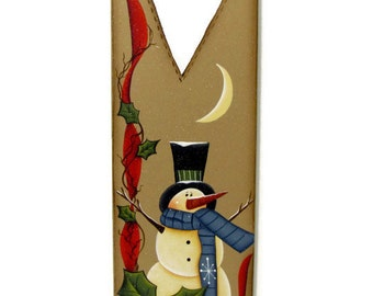Snowman with Heart or Snowflake Cutout, Handpainted Wood, Primitive Home Decor, Wall Art, Tole Decorative Painting, L2