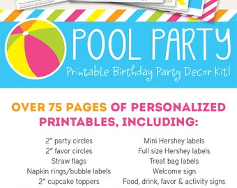 Pink Pool Party Birthday Printable Decor Kit - Over 75 pages of personalized printables!