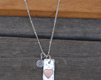 Sterling and Copper heart TWO SIDED Charm with SISTERS stamped Pendant with Swirl Charm on Sterling Silver Satellite Chain 20""