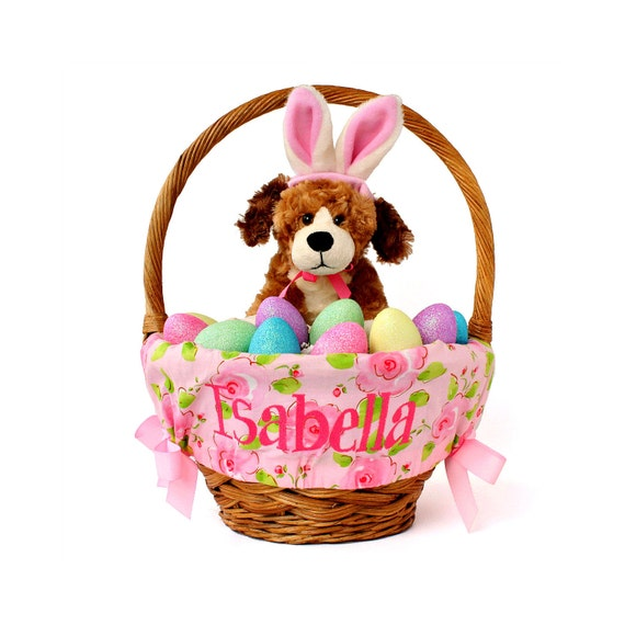Personalized Easter Basket Liner Spring Flowers By