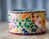 "CUSTOM HANDSTAMPED CUFF - bracelet - personalized by Farmgirl Paints - ""carpet bag"" colorful stitched cuff"