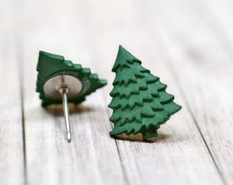 Tiny Dark Green Christmas Tree Earrings, Evergreen Winter Holiday Jewelry, Christmas Jewelry, Pine Green Trees December Holiday Earrings