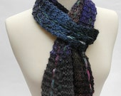 Silk/Wool Scarf, Hand Knit, Gray, Purple, Mauve