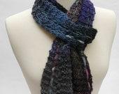 Silk/Wool Scarf, Hand Knit, Gray, Purple, Mauve