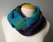 Charcoal, aqua and multicolor cowl, loop, snood, circular scarf, pure wool, knitted by hand, reversible