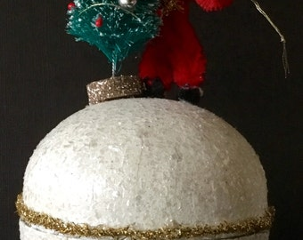 Christmas Ormament/Candy Container Vintage Look-German Paper Mâché Ball,Vintage Japan Santa,German Tinsel, Mica,Chenille,Bottle Brush Tree
