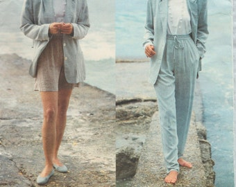 Vogue 2849 / Vintage Designer Sewing Pattern By Donna Karan DKNY / Jacket Pants Shorts Suit / Sizes 8 10 12