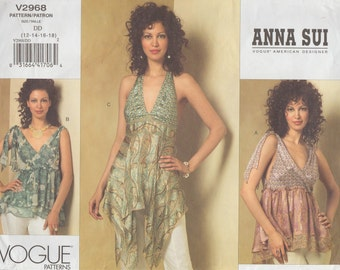 Vogue 2968 / Designer Sewing Pattern by Anna Sui  /Halter Top Blouse / Sizes 12 14 16 18