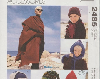 McCalls 2485 / Fashion Accessories Sewing Pattern / Scarf Hats Cap Shawl Wrap Hood / One Size