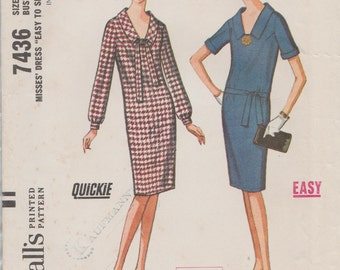 Vintage 60s Sewing Pattern /  McCalls 7436 / Sheath Dress / Size 14 Bust 34