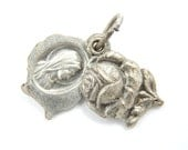 Vintage Virgin Mary Catholic Medal - Our Lady of Lourdes Charm - Silver Rose Shaped Locket - S1