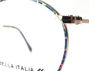 vintage 1980's NOS bella italia round gold metal frames eyeglasses blue pink oversized eye glasses modern mens womens accessories deadstock