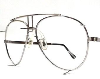 vintage 1980's NOS aviator eyeglasses silver metal frames mens prescription mid century retro modern eye glasses eyewear anthony martin new
