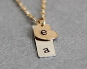 Dainty Heart Necklace, Mothers Necklace, Two Initial Necklace, Tiny Sterling Silver Bar, Gold Filled Heart Charm