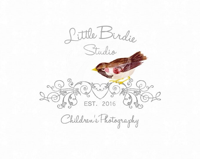 Premade Logo Little Birdie WaterColor Bird