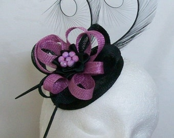 Black and Radiant Orchid Pheasant Curl Feather Sinamay Loop & Pearl Wedding Fascinator Mini Hat - Made To Order