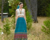 R E S E R V E D... do not buy.... Vintage Mexican Maxi Skirt... Beautiful Woven Panel... Frida Kahlo
