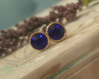 Deep Indigo Blue Crystal Plugs Gauges 10g, 8g P685