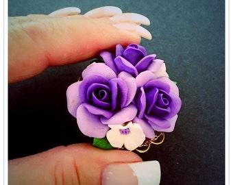 Vintage Purple Rose Brooch, Polymer Clay, 1987