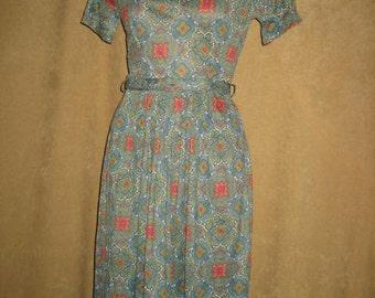 Day Dress Nylon Polyester 50s Vintage
