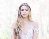 Gold Bridal headband, wedding accesories, ivory woodland bridal wreath, white berries heandband, simple bridal accessories