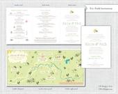 Yosemite National Park, California Tri-Fold Infographic Invitation with Map + RSVP Design