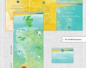 Custom Water Color Wedding Map, Wedding Day Itinerary, Wedding Map Invitation, Wedding Infographic (tri-fold) -- Scotland