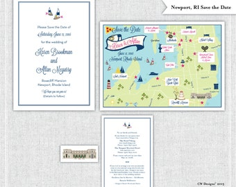 Newport, Rhode Island Map Save the Date