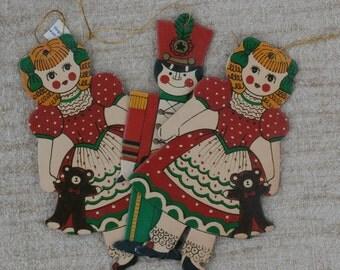 3 Vintage Cardboard Christmas Ornaments Dolls and Soldier Die Cuts