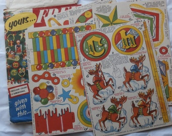 Vintage Surf Detergent Paper Christmas Ornaments, Die Cuts, 1950s or 60s Ephemera