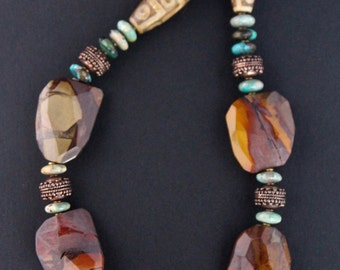 Huge Bamboo Jasper Nugget Necklace Fiery Colors with Ornate Copper and Chrysocolla Rondelles Earthy Autumn Colors Gemstone Jewelry