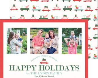 Holiday Travel Christmas Photo Card with Red Car + Trucks | Choose from Patterned Back or Photo Collage Back