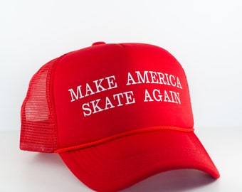 Roller Derby Make America Skate Again Hat || Red Donald Trump Parody Trucker Hat || Roller Derby Clothing || Skate Hat