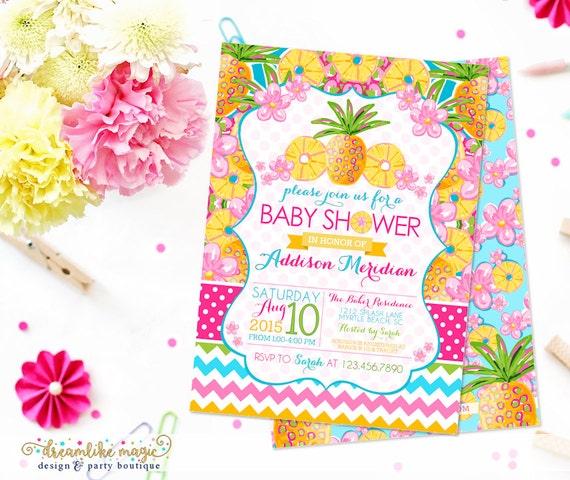 pineapple baby shower invite, printable summer baby shower invite, Baby shower invitations