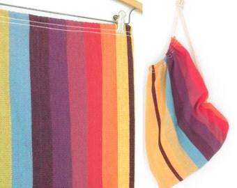 Rainbow Backpack * Woven Fiber Bucket Bag * Sack Bag * Vintage Rucksack