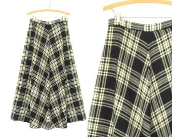 60s Maxi Skirt * Long Plaid A-line Skirt * Vintage 1960s Wool Maxi * Lanz * Medium