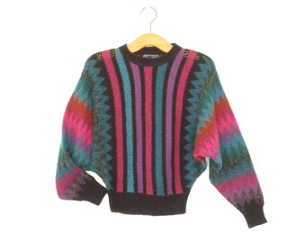 80s Batwing Sweater * Vintage Knit Pullover Top * Cropped 1980s Sweater * Small - Medium