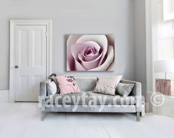 Pink Rose, Large Canvas Art, Girl Nursery Decor, Shabby Chic, Pastel Bedroom Wall Art Canvas