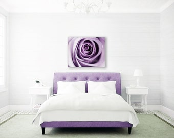 Purple Decor, Canvas Wall Art, Modern, Large Canvas Art, Rose Flower Photography, Bedroom Wall Art