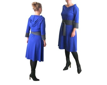 Hoodie dress, Plus Size Dress, A line dress with obi belt, Plus Size Clothing, Knee length dress, Custom Size Dress, Hoodie midi dresses