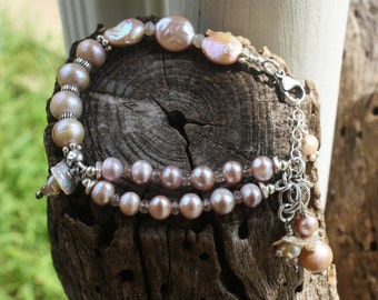 Handmade Pale LAVENDER Pearls Bracelet, Wearable Art, OOAK Wedding Bling, Handcrafted Artisan Sterling Silver Bracelet
